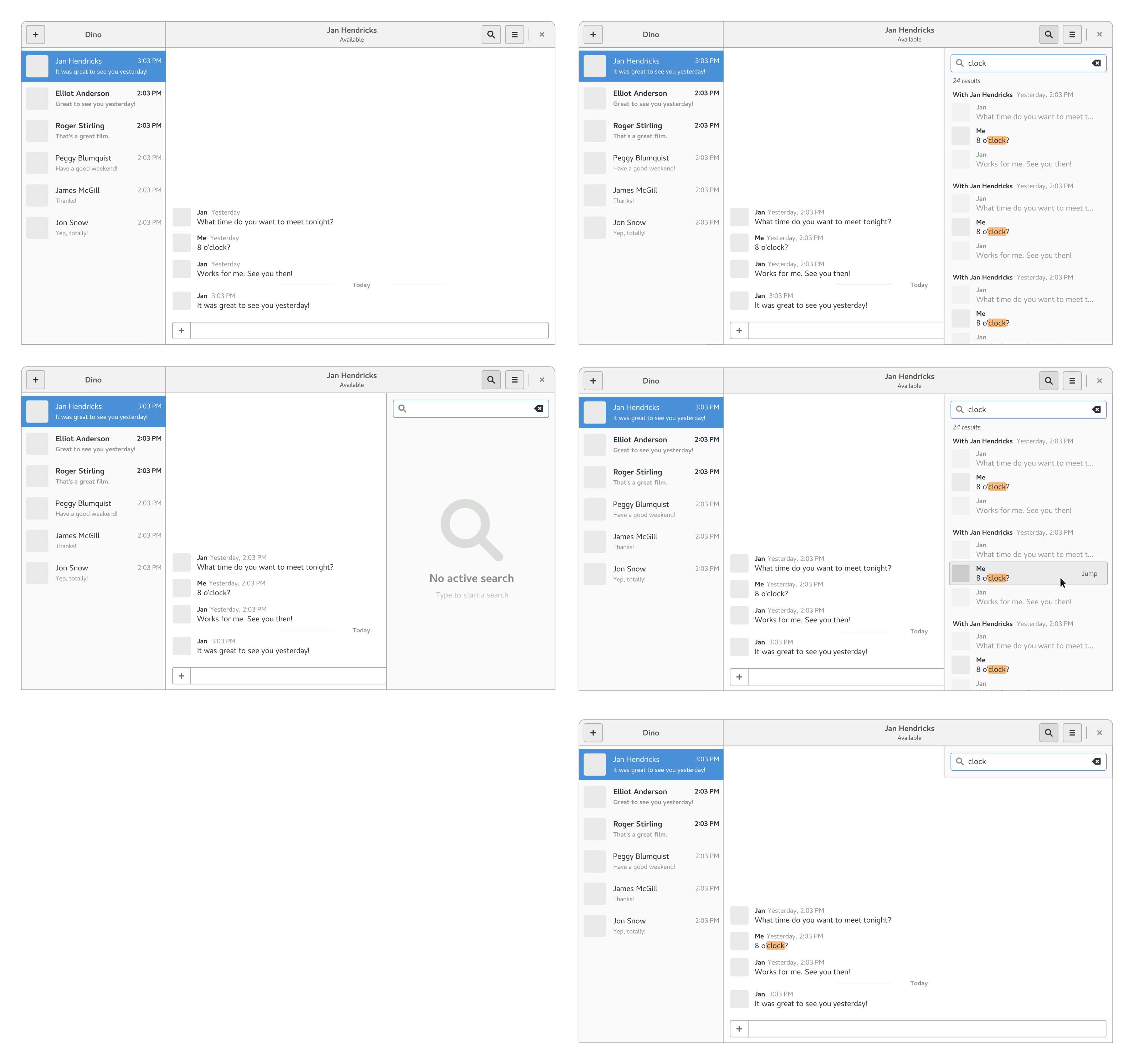 Initial message search design mockups.