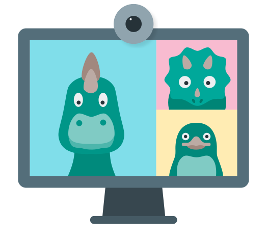 Screen showing dinosaurs in a video conference